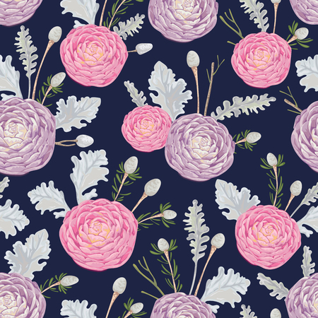 Seamless pattern with pink and purple camellias, dusty miller and silver brunia. Decorative holiday floral background. Vintage vector illustration in watercolor style
