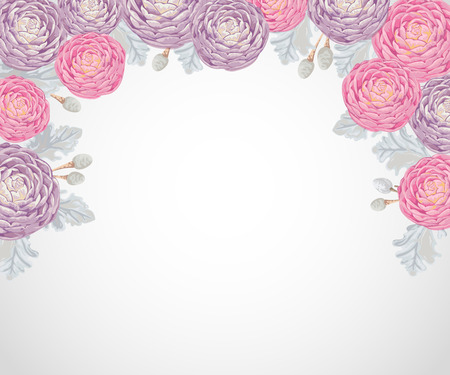 Decorative holiday background with pink and purple camellias, dusty miller and silver brunia.Vintage vector illustration in watercolor style
