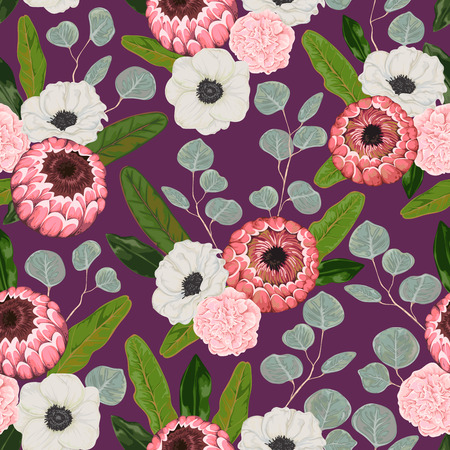 Seamless pattern with anemone, carnation, silver dollar eucalyptus, protea flowers and leaves. Decorative holiday floral background. Vintage vector illustration in watercolor style
