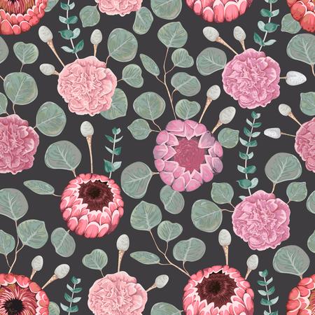 Patrón sin fisuras con clavel, eucalipto, brunia plata, flores de protea y hojas. Fondo floral vacaciones decorativas. Ilustración de vector vintage en estilo acuarela Foto de archivo - 89909120