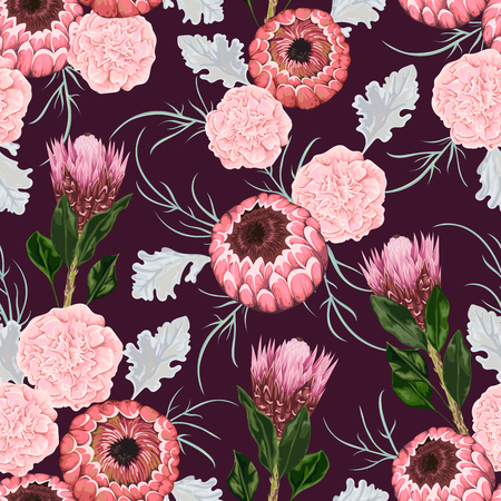 The pattern of anemone flowers, rosemary and protea leaves. Decorative holiday floral. Vintage illustration in watercolor styleillustration in watercolor style