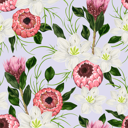The pattern of anemone flowers, rosemary and protea leaves. Decorative holiday floral. Vintage illustration in watercolor style Illustration