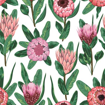 プロテアの花・蕾・葉とのシームレスなパターン。花の背景の装飾的な休日。水彩風のビンテージ ベクトル図