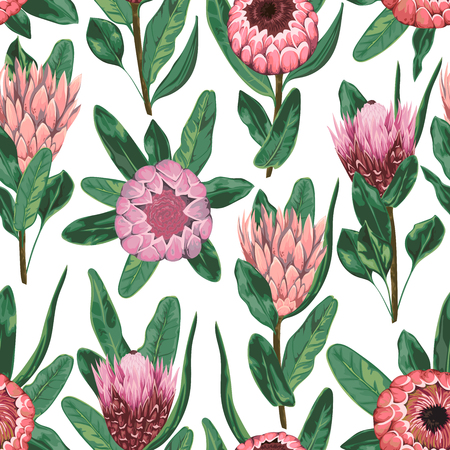 Seamless pattern with protea flowers, buds and leaves. Decorative holiday floral background. Vintage vector illustration in watercolor style