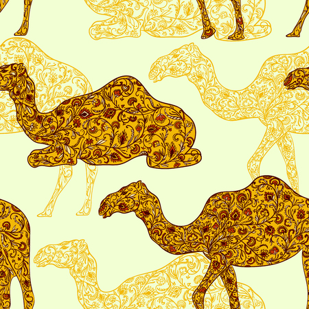 Seamless pattern with camel decorated with oriental ornament. Vintage vector illustration