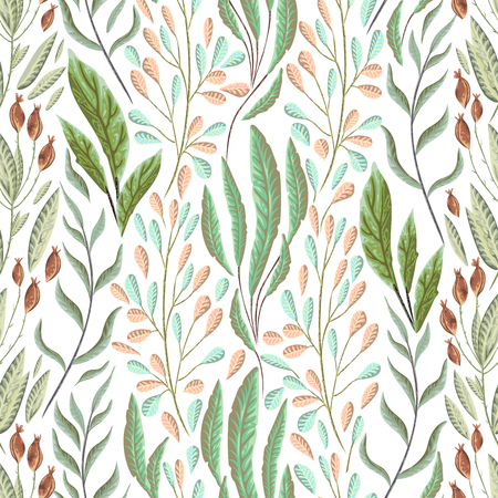 Seamless pattern with marine plants, leaves and seaweed. Hand drawn marine flora in watercolor style. Vector illustration