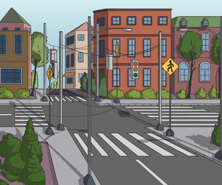 City street with buildings, traffic light, crosswalk and traffic sign. �¡ityscape background. Vector illustration Stock Illustratie