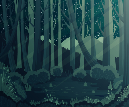 Night forest landscape with mountains, plants and stars in the sky. Scenery background. Stock Illustratie