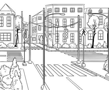 City street with buildings, traffic light, crosswalk and traffic sign. Сityscape background in sketch style. Vector illustration Illustration
