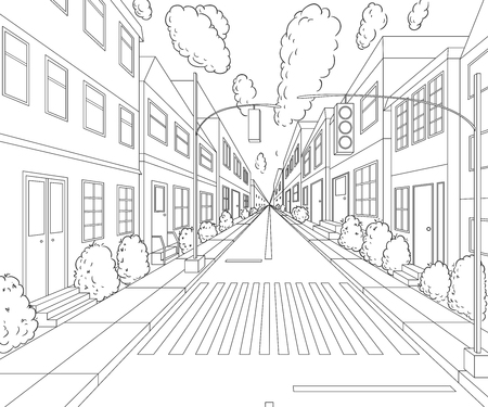 City street with buildings, traffic light, crosswalk and traffic sign. Cityscape background in sketch style. Vector illustration.