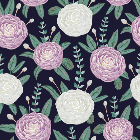 Seamless pattern with white and purple camellia flowers, silver brunia and eucalyptus . Decorative holiday floral background. Vintage vector illustration in watercolor style