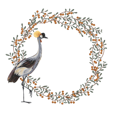Wreath with crane bird and cranberry. Oriental motif. Vintage hand drawn vector illustration in watercolor style