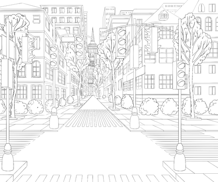 City street with buildings, traffic light, crosswalk and traffic sign. Cityscape background in sketch style. Stock Illustratie