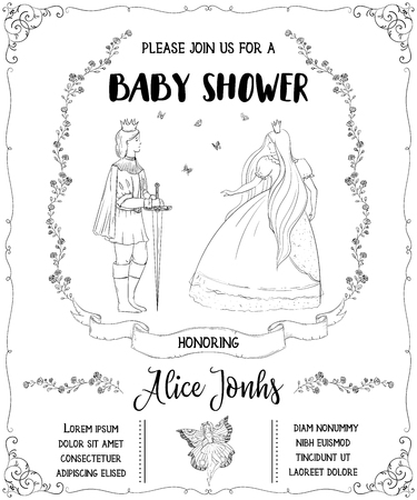 Baby shower invitation with fairy tale theme.