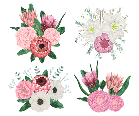 Decorative holiday bouquets set with flowers, leaves and branches. Vintage floral elements. Vector illustration in watercolor style