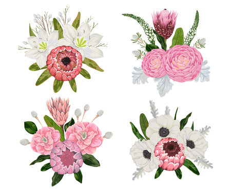 Decorative holiday bouquets set with flowers, leaves and branches. Vintage floral elements. Vector illustration in watercolor style. Illustration