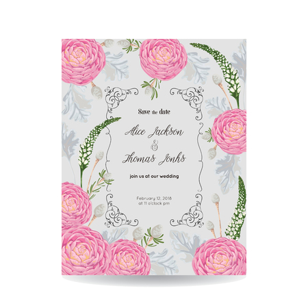 Save the date card with camellias, dusty miller, snapdragon and silver brunia. Vintage vector illustration Illustration