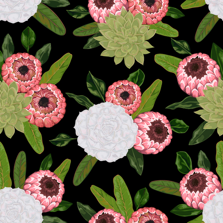Pattern with succulents and protea flowers and leaves.
