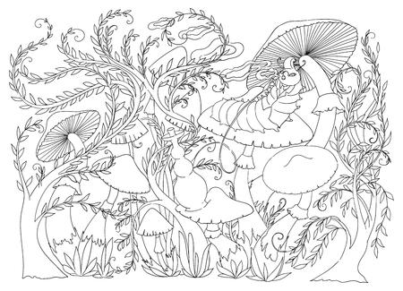Caterpillar smokes a hookah on a mushroom. Fairytale Wonderland scenery. Vintage vector illustration