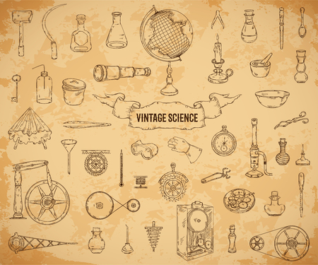 Vintage science objects set in steampunk style. Scientific equipment for physics, chemistry, geography, pharmacy on aged paper background.
