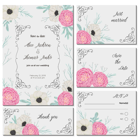 Save the date card with pink camellias, white anemone flowers, dusty miller and gypsophila. Holiday floral design for wedding invitation. Vintage hand drawn vector illustration in watercolor style.