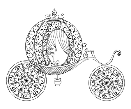 Vintage carriage. Isolated object. Hand drawn vector illustration