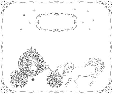 馬とヴィンテージキャリッジ。分離されたオブジェクト。手描きベクトルイラスト