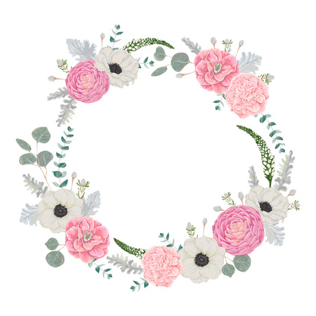 Decorative holiday wreath set with flowers, leaves and branches. Vintage floral elements. Vector illustration in watercolor style