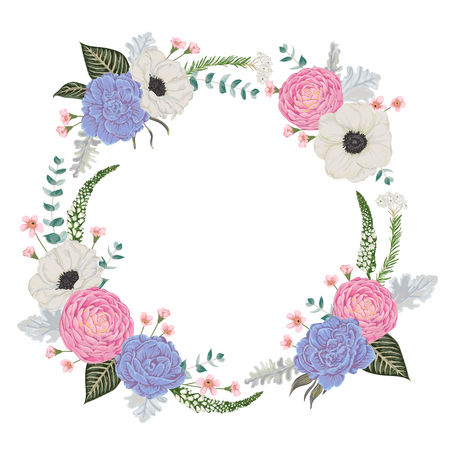Decorative holiday wreath with flowers, leaves and branches. Vintage floral elements. Vector illustration in watercolor style