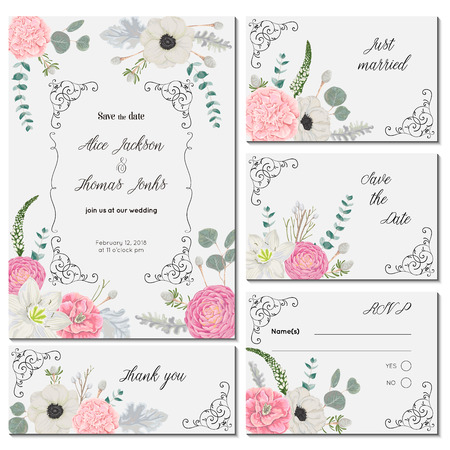 Save the date card with with flowers, leaves and branches. Holiday floral design for wedding invitation vintage hand drawn vector illustration in watercolor style. Illustration