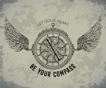 Typography poster with vintage compass and wings. Inspirational quote. Let your heart be your compass. Concept design for t-shirt, print, card, tattoo. Vector illustration Stock Illustratie