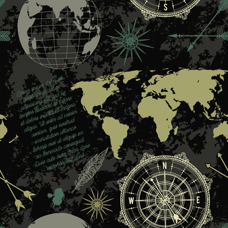 Seamless pattern with vintage globe, compass, world map and wind rose. Vector illustration Vettoriali