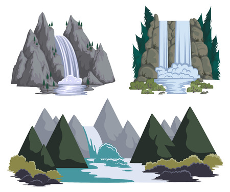 Waterfalls set. Cartoon landscapes with mountains and trees. Vector illustration Ilustrace