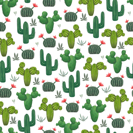 Seamless pattern with cacti, succulents and floral elements. Vintage vector botanical illustration in watercolor style. Ilustrace