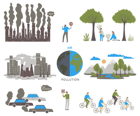 Air pollution. Ecology problem concept. Factories and cars pollute the environment. Vector illustration