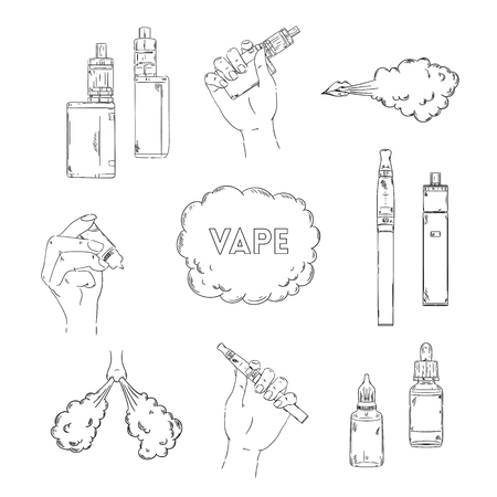 Electronic cigarette, liquid and cloud of steam. Vape collection. Isolated elements. Vector illustration