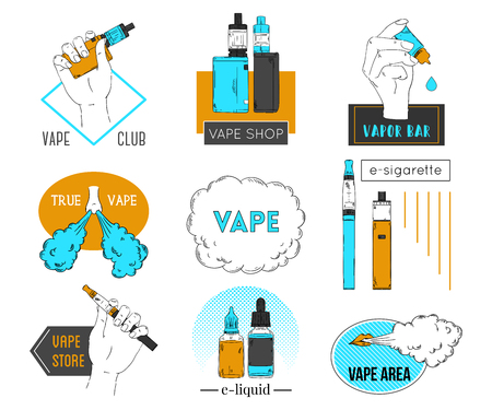 Collection of vape labels, emblems and badges. Electronic cigarette, liquid and cloud of steam vector illustration. Vettoriali