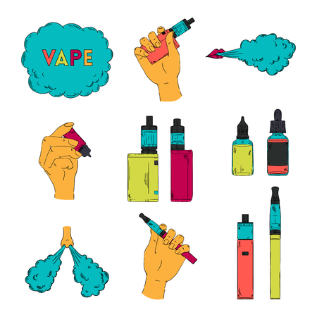 Electronic cigarette, liquid and cloud of steam. Vape collection. Isolated elements. Vector illustration.