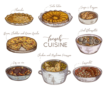 French cuisine. Collection of delicious food. Isolated elements. Concept design for decoration restaurants, menu. Vintage hand drawn vector illustration