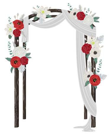 Beautiful wedding arch with flowers, leaves and branches. Vintage floral design. Vector illustration in watercolor style