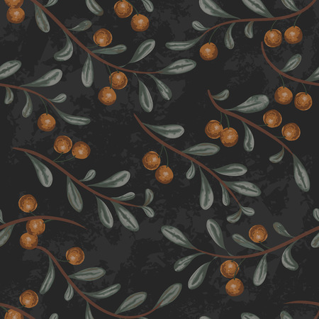 Seamless pattern with cranberry plant on black grunge background. Vintage vector illustration in watercolor style Vettoriali
