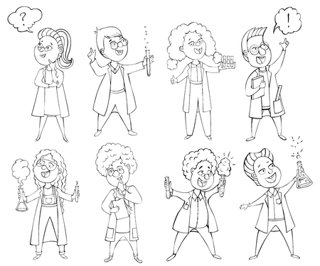 Children scientists set. Cartoon characters. Isolated elements. Black and white vector illustration Illustration
