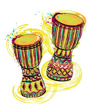 Bębny tam tam z plamami w stylu akwareli. Kolorowe, ręcznie rysowane ilustracji wektorowych