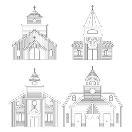 教会の建物が設定されています。白い背景に分離された要素。ベクトル図