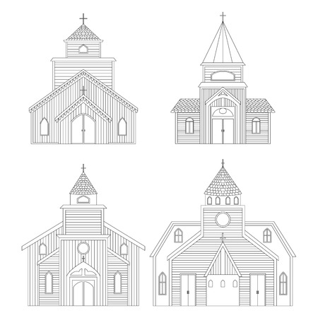 Church buildings set. Isolated elements on white background. Vector illustration