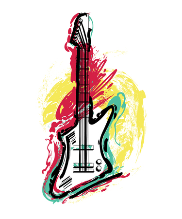 Electric guitar. Hand drawn grunge style art. Vintage colorful design. Vector illustration
