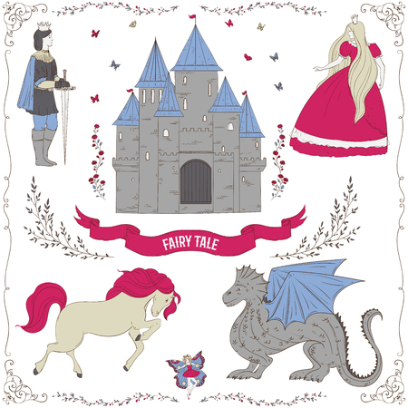 Fairy tale theme Collection of decorative design elements Isolated objects. Illustration