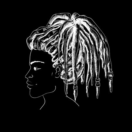 Portrait of woman with dreadlocks in profile. Black and white vector illustration in sketch style