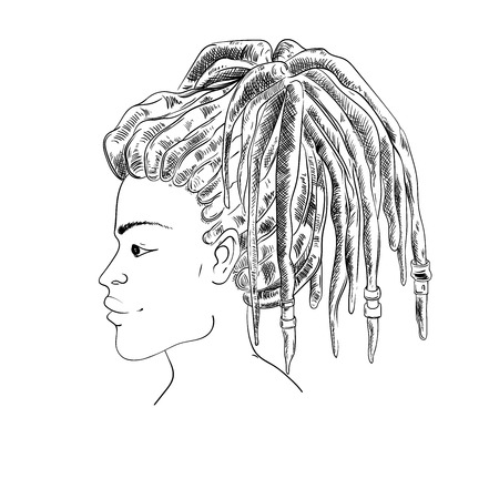Portrait of woman with dreadlocks in profile. Isolated on white background. Black and white vector illustration in sketch style Illustration