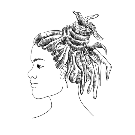 Portrait of man with dreadlocks in profile. Isolated on white background. Black and white vector illustration in sketch style Stock Vector - 97494427